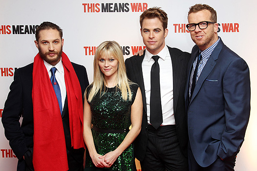 LONDON, ENGLAND - JANUARY 30: (UK TABLOID NEWSPAPERS OUT) L-R Tom Hardy, Reese Witherspoon, Chris Pine and director McG attend the UK premiere of 'This Means War' at ODEON Kensington on January 30, 2012 in London, England. (Photo by Dave Hogan/Getty Images)